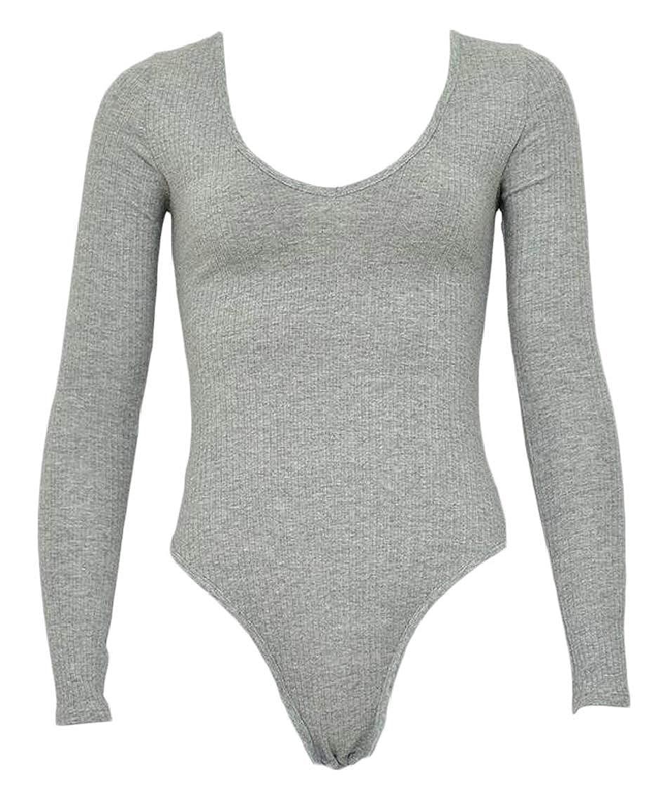 Hajotrawa Womens Trendy Triangle Scoop Neck StretchKnitted Bodysuit Jumpsuits