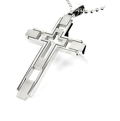 Amazon kurop cross pendant necklace silver cross jewelry kurop cross pendant necklace silver cross jewelry titanium steel stainless steel aloadofball Images