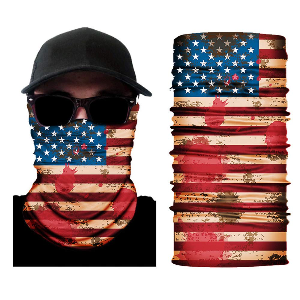 American Flag Outdoor Anti UV Dust Proof Neck Gaiter Tube Scarf Face Cover Wort