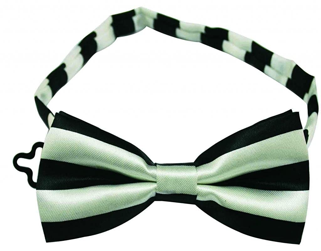 Pack Of 2 Yongshida Boys Polyester Bow Tie Black and White Stripe Style