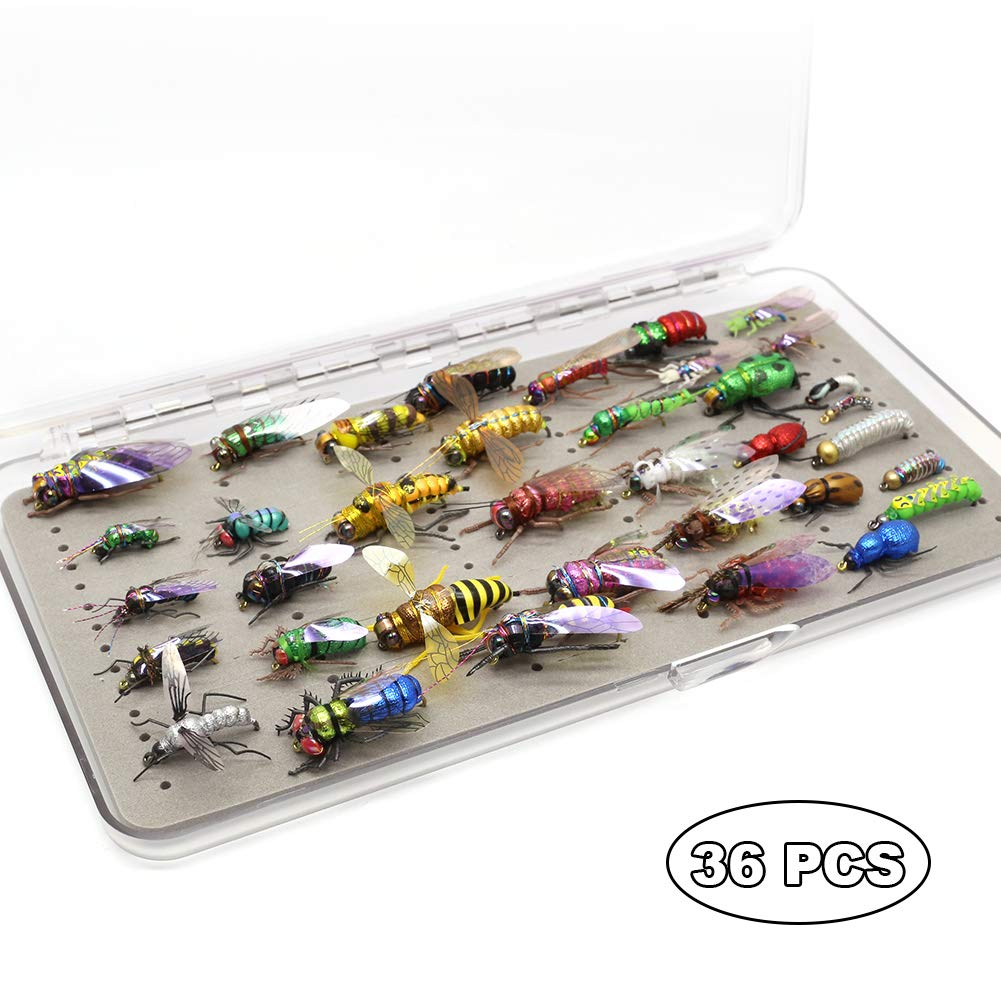 YZD Trout Fly Fishing Flies Collection Dry Wet Nymph Fly Assortment with Fly Box Flyfishing Flys Lures 12/16/18/22/36 Kits (Premium Fly selections)