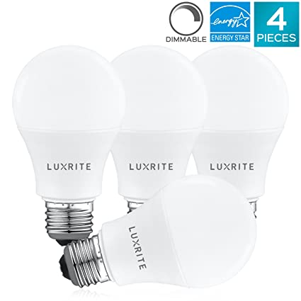 Awesome Luxrite A19 LED Light Bulb 60W Equivalent, 4000K Cool White Dimmable, 800  Lumens, Standard LED Bulb ...