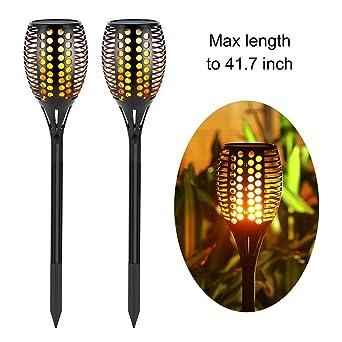 Solarleuchten Garten Zeonetak Tanzen Flamme Beleuchtung 96 LED Flickering  Tiki Fackeln Wasserdicht Wireless Outdoor Weihnachtsbeleuchtung Außen