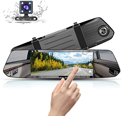 Cam Front and Rear View Waterproof Backup Camera 170/°Wide Angle with G-sensor Parking Monitor Motion Detection Mirror Dash Cam 1080P Dual Lens 7 Inch IPS Touch Screen