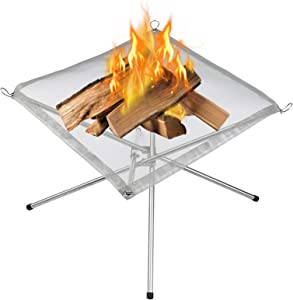 Portable Outdoor Fire Pit 16.5 Inch Upgrade Foldable Stainless Steel Mesh Fire Pit Wood Burning, Collapsible Fireplace Space Saving Perfect for Camping, Backyard, Patio, Garden (Carrying Bag Included)