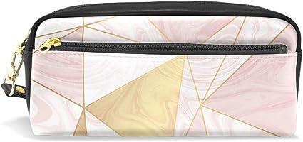 Golden Line - Estuche para lápices de mármol rosa de gran capacidad con doble cremallera duradera para la oficina escolar, estuche para lápices y cosméticos: Amazon.es: Oficina y papelería