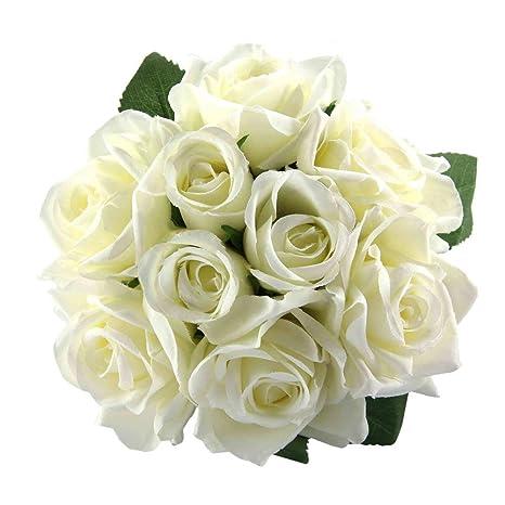 Chunqi Flores Artificiales, Flores Artificiales de Seda Rosas Artificiales de 9 Cabezas Ramo de Boda