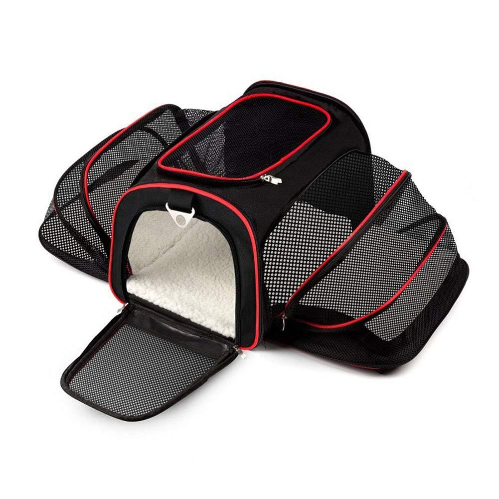Expandable Pet Carrier Bag, Collapsible Pet Cat Dog Carrier Travel Bag And Car Bag Portable Pet Carrier Outdoor (black)