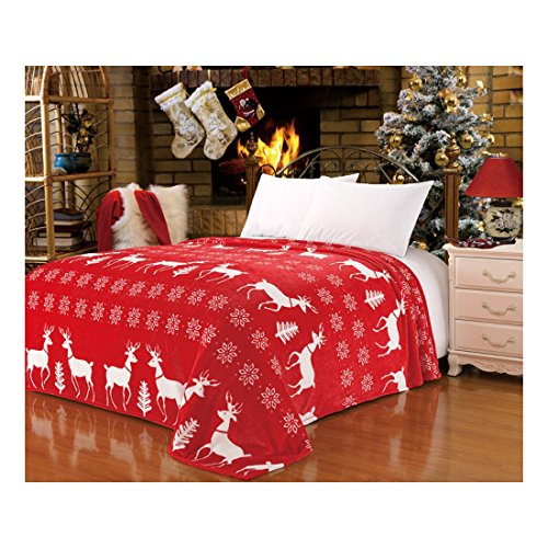CaliTime Fluffy Fleece Red Xmas White Reindeer Snowflake Throw Blanket Bedspread