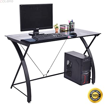 COLIBROX  Tempered Glass Computer Desk PC Laptop Study Workstation Home  Office Furniture,computer