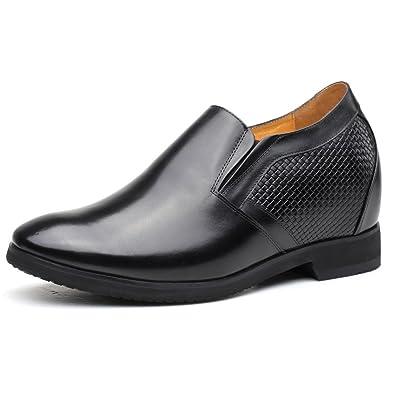 e0b0b72e1bc7e Amazon.com   CHAMARIPA Men Black Leather Slip on Formal Dress Shoes ...