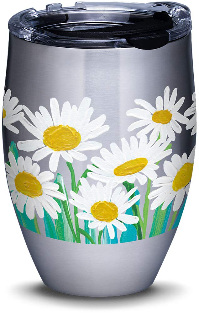 20 oz Tervis 1320634 Painted White Daises Stainless Steel Insulated Tumbler with Lid Silver