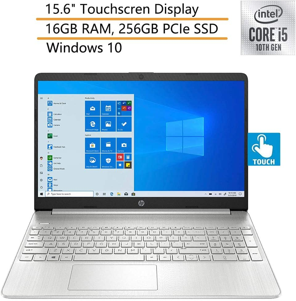 """2020 HP 15 15.6"""" Touchscreen Laptop Computer, 10th Gen Intel Quad-Core i5 1035G1 Up to 3.6GHz, 16GB DDR4 RAM, 256GB PCIe SSD, Silver, Windows 10, iPuzzle Mouse Pad"""