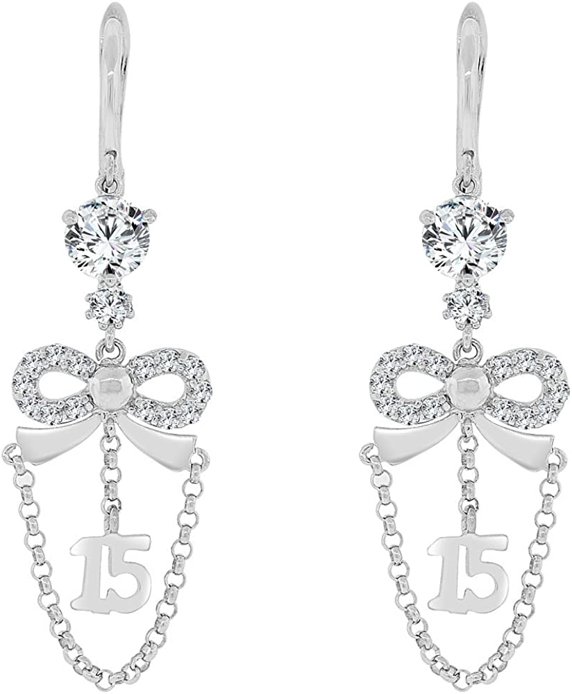 14k Gold White Rhodium Box Design Dangling Earring Created CZ Crystals