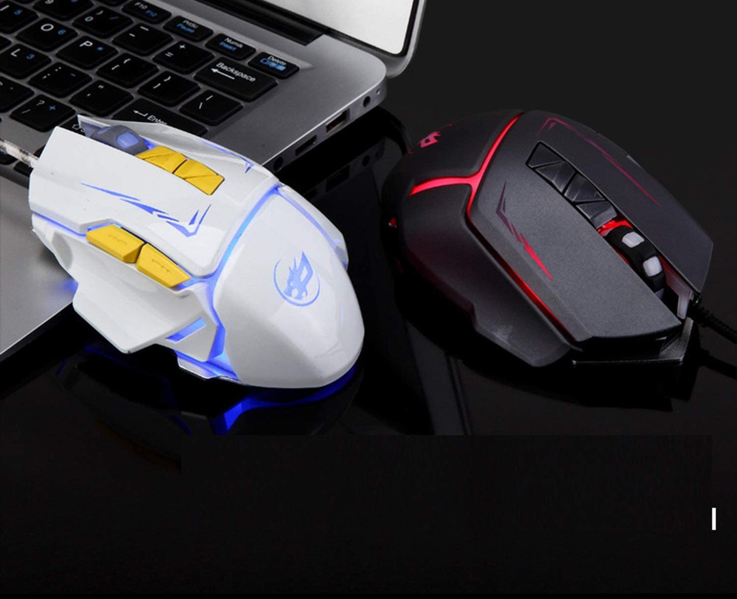 7Color LED 3200 DPI 6Button Wired Macro Definition Progming Gaming Mini Mice USB Receiver for Laptop PC Desktop,White,