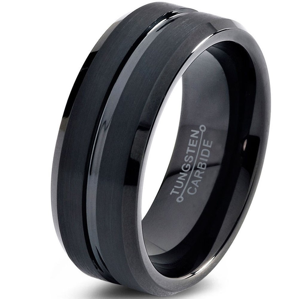 Tungsten Wedding Band Ring 8mm for Men Women Comfort Fit Black Beveled Edge Brushed FREE Custom Laser Engraving Lifetime Guarantee