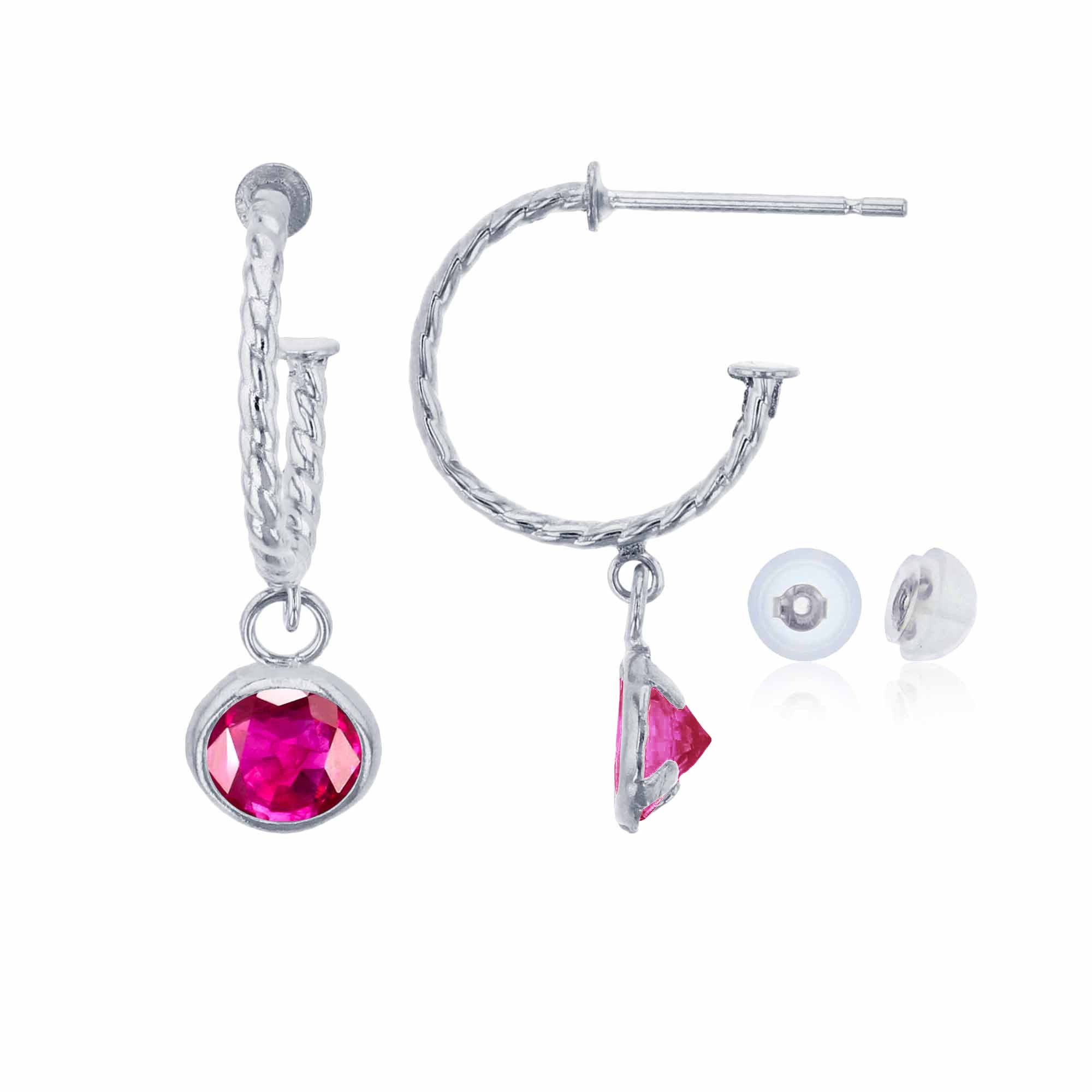 10K White Gold 12mm Rope Half-Hoop with 4mm Round Glass Filled Ruby Bezel Drop Earring with Silicone Back