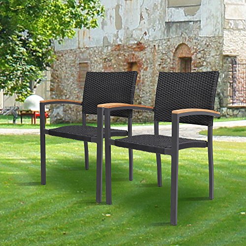 Cheap KARMAS PRODUCT 2 Pack Outdoor Patio All Weather PE Wicker Dining Chairs with Aluminum Alloy Frame,Stackable Rattan Bistro Cafe Balcony Backyard Armchair Set (Black)