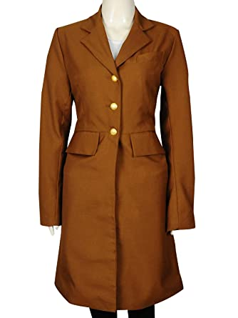 63a8a35dc22 TrendHoop Classical Custom Ladies Fashion Brown Cotton Clothes Long Women  Trench Coat | Small Size (
