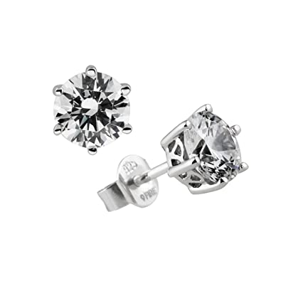 Diamonfire Women's Stud Earrings - 925 Sterling Silver-White Carats Line Zirconia 62/1264/1/082 Women s yDTOd9TMEG