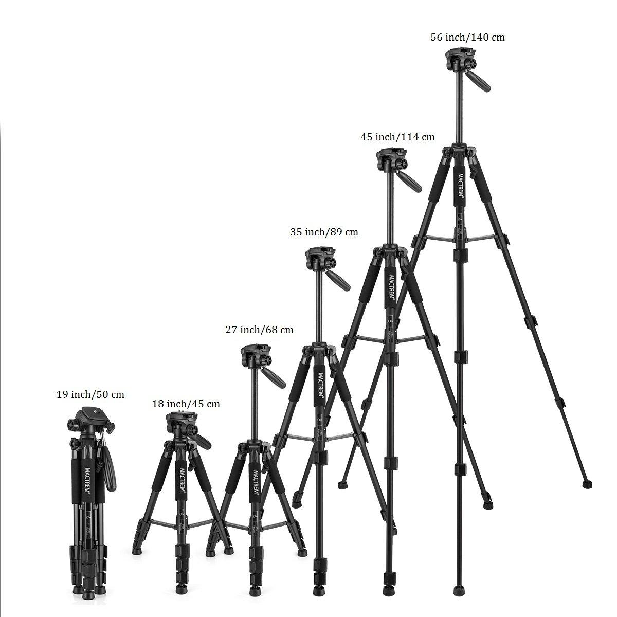 Stativkamera Reflex - Mactrem Flexibles Vollstativ PT55 mit Kugelkopf für DSLR EOS Canon Nikon SONY - Reisestativ (Schwarz)