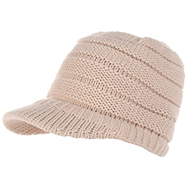 cdafcc3187b6e Keepwin Femmes Chapeau Dames Casual Pull Chaud Torsion Bonnet De Queue De Cheval  Bonnet en Tricot Visière(Taille Unique,Beige): Amazon.fr: Vêtements et ...