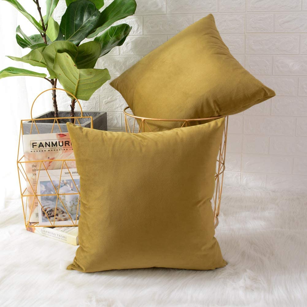 MERNETTE Pack of 2, Velvet Soft Decorative Square Throw Pillow Cover Cushion Covers Pillow case, Home Decor Decorations for Sofa Couch Bed Chair 18x18 Inch/45x45 cm (Grass Yellow)