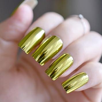 24 piezas verde oliva metálico puntas de uñas plana media acrílico mujer fácil DIY uñas postizas diseño espejo Kit con pegamento adhesivo Z791: Amazon.es: ...