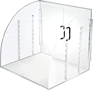 Acrylic Curved Food Display Case with Front/Back Swing Open Doors and Two Trays