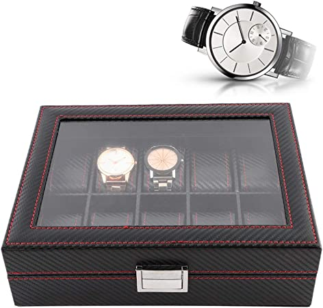 Caja para Relojes con 10 compartimentos, Caja de Almacenamiento de Reloj/Soporte de Exhibición para la mayoría de ...
