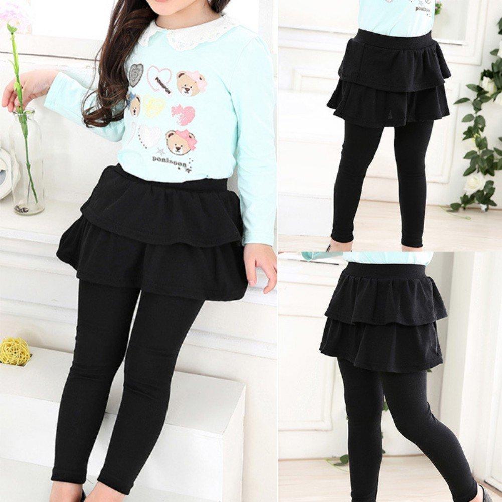 URMAGIC Kids Girl Legging Warmer Children Kids Skirt-Pants Solid Trousers Legging Aged for 3-11 Years Old