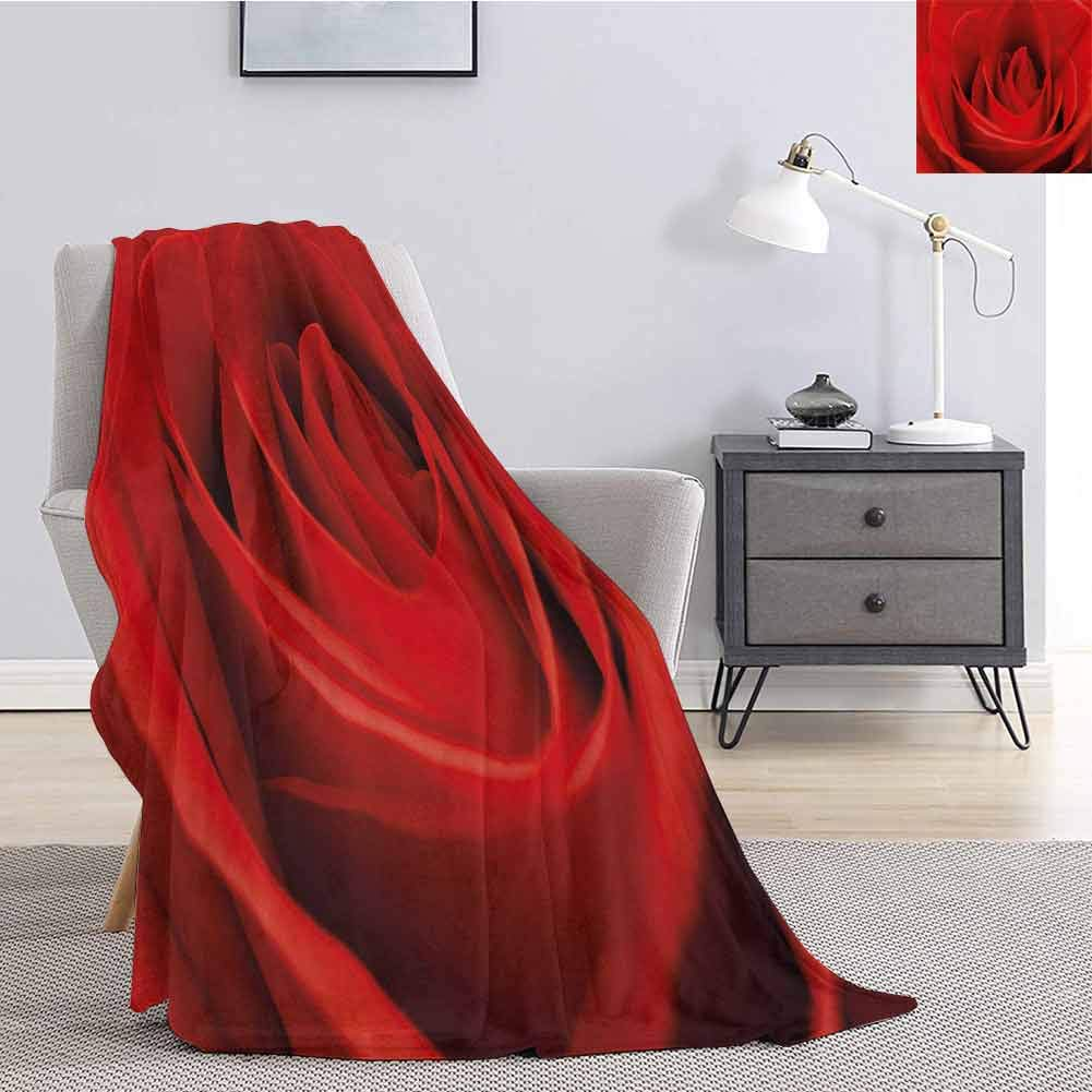 jecycleus Rose Bedding Microfiber Blanket Close Up of a Red Rose Bloom Fresh Natural Beauty Love Valentines Day Couples Theme Super Soft and Comfortable Luxury Bed Blanket W60 by L70 Inch Vermilion