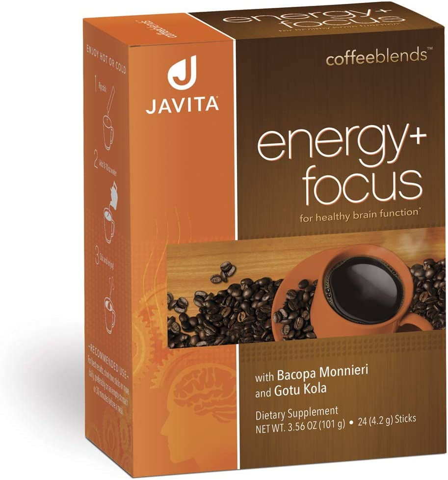 Energy + Focus Coffee - Premium, Gourmet,100% South American Blend, Arabica, Robusta - w/Herbs for Memory, Clarity, Energy, & Focus - Bacopa, Gotu Kola, Made in USA, Javita 24 ct