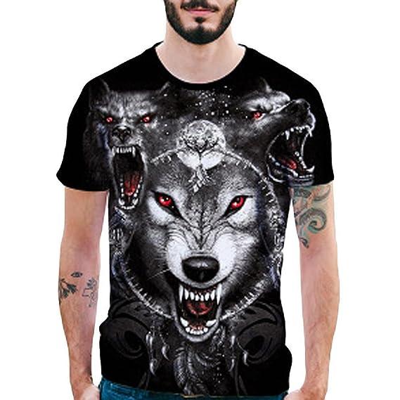 Camiseta Hombres Originales,❤Venmo Hombre Slim fit Camisetas de 3D Imprimir Lobos Casual Camiseta Camisa de Manga Corta Top Blusa para Hombres: Amazon.es: ...