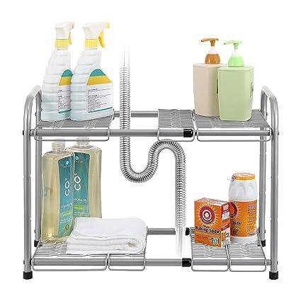 Amazon.com - NEX 2-Tier Under Sink Shelf Organizer Under Sink ... on kitchen under sink storage unit, kitchen under sink towel rack, inside sink dish rack,