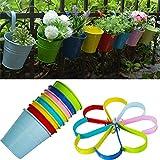 Vasi da fiori, RIOGOO Ferro Hanging Vasi, Balcone Giardino Vasi Fioriere parete di metallo titolari benna Flower - Stile portatile (8 PCS)
