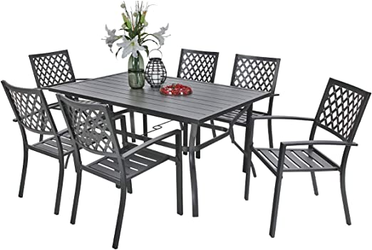 Amazon Com Phi Villa Outdoor Patio Dining Set Of 7 With Metal 60 X38 Rectangular Dining Table And Bistro Chairs Black Garden Outdoor