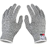 Iusun Cut Resistant Gloves Food Grade Level 5 Protection Working Cutting (White, S)