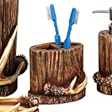Buck Mountain Antler Toothbrush Lodge Holder - Lodge Bathroom Decor
