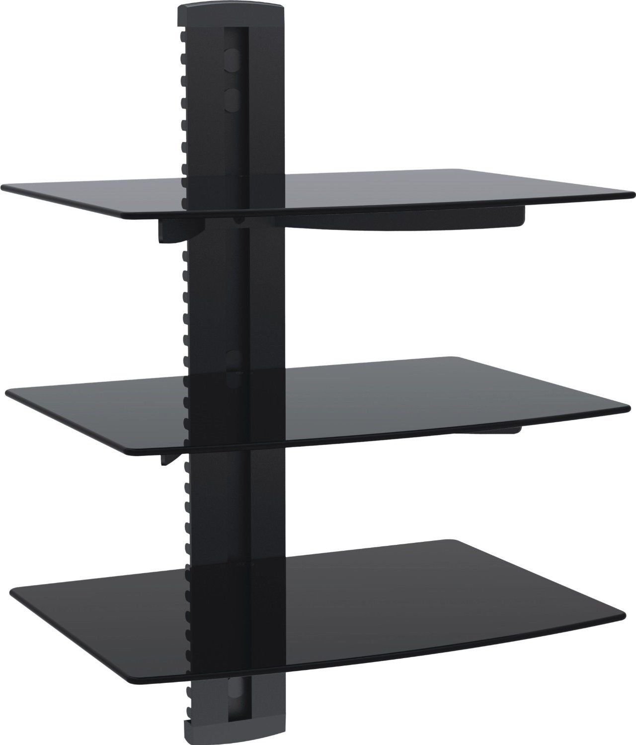 WALI Floating Shelf with Strengthened Tempered Glass for DVD Players, Cable Boxes, Games Consoles, TV Accessories (CS203), 3 Shelf, Black by WALI