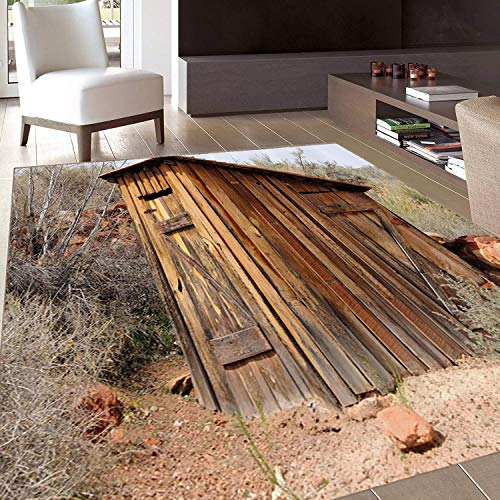 (Rug,FloorMatRug,Outhouse,AreaRug,Old Wooden Shed in The Outback Country Side with Olive Trees,Home mat,4'x5'Purple Green Yellow,RubberNonSlip,Indoor/FrontDoor/KitchenandLivingRoom/BedroomMat)