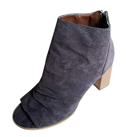 4c84051c7e6 Amazon.com: SMORRAN Women Ladies Fashion Fish Mouth Ankle Boots ...