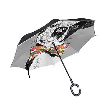 jstel doble capa puede Vertical de Bulldog Francés paraguas coches Reverse resistente al viento lluvia paraguas