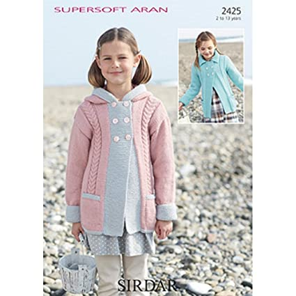 94decfe12f44 Sirdar Supersoft Aran Girls Hooded Cabled Coat Knitting Pattern 2425 ...