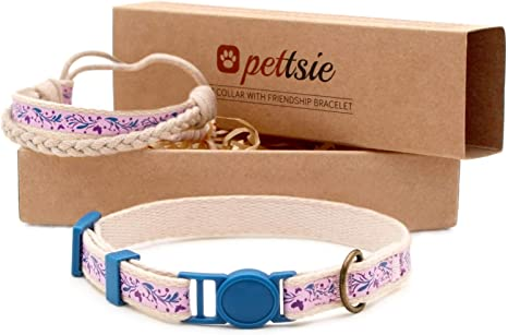 Pettsie Kitten Collar with Safety Breakaway Buckle and Friendship Bracelet for You Easy Adjustable Size 5-8