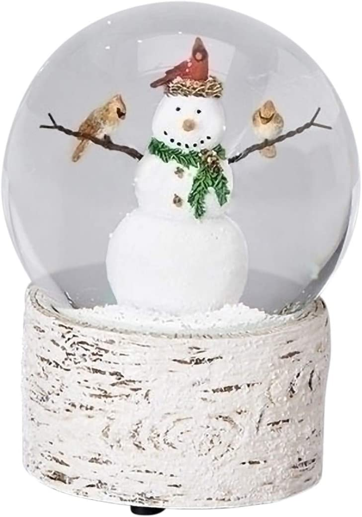 Snowman with Cardinal Friends 6 Inch Resin Musical Snowglobe Plays Holly Jolly Christmas
