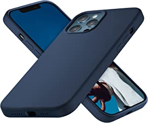 OXWALLEN for iPhone 12 Pro Max Case 6.7 inches 2020, Soft Touch Silicone Slim fit Shockproof Phone Cases Cover with Enough Grip [Protective Velvet Lining], Navy Blue