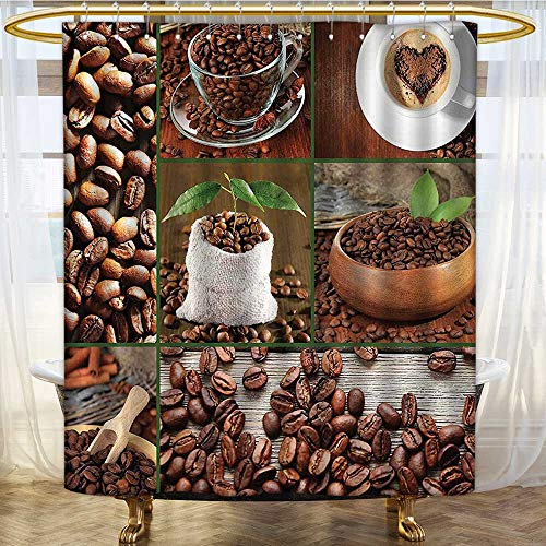 (Shower Curtains with Shower Hooks Brown Collage of Coffee Beans in Cups and Bags with Green Leaves Fabric Bathroom Set with Hooks W36 x H84 inch)