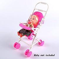 VANKER DIY Assemblée Bébé boguet Poussette Rose Maison De Poupée Chariot Jouet pour Barbie