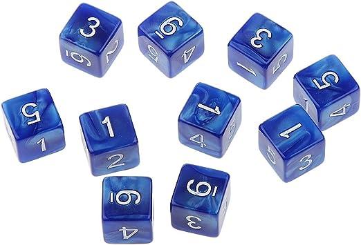 10pcs Juegos de Mesa Dados de Seis Caras D & D TRPG - Azul: Amazon.es: Juguetes y juegos
